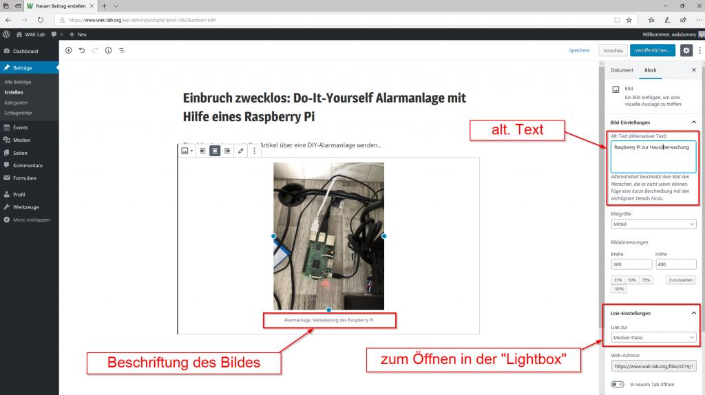 Webseiten-Guide: Bildupload und Meta-Daten