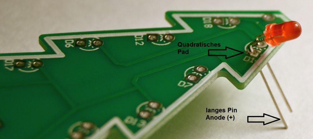 Die LEDs werden bestückt in dem das lange Pin in das quadratische Pad geseteckt wird